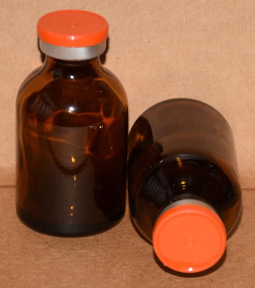30 mL Amber Sterile Vial w/ Orange Aluminum Plain Flip Off Seal 36mm X 63mm