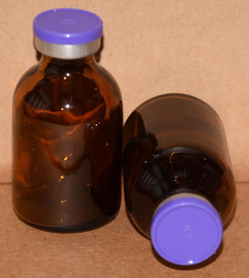 30 mL Amber Sterile Vial w/ Purple Aluminum Plain Flip Off Seal 36mm X 63mm