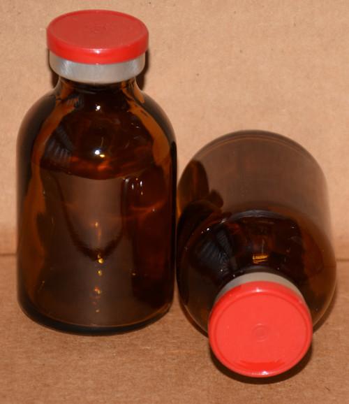 30 mL Amber Sterile Vial w/ Red Aluminum Plain Flip Off Seal 36mm X 63mm