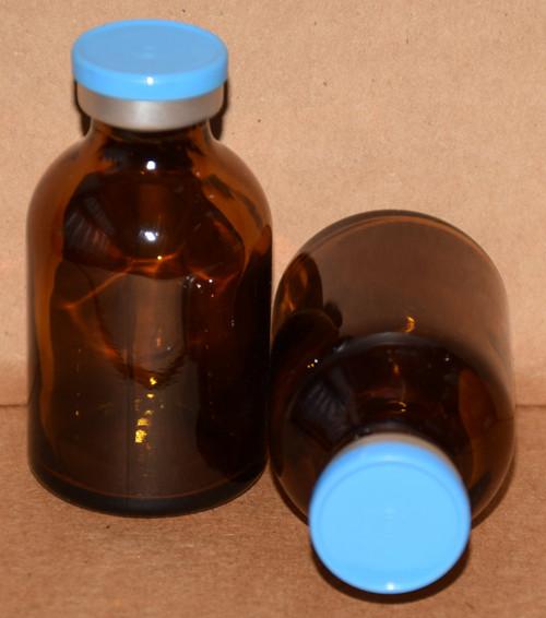 30 mL Amber Sterile Vial w/ Sky Blue Aluminum Plain Flip Off Seal 36mm X 63mm