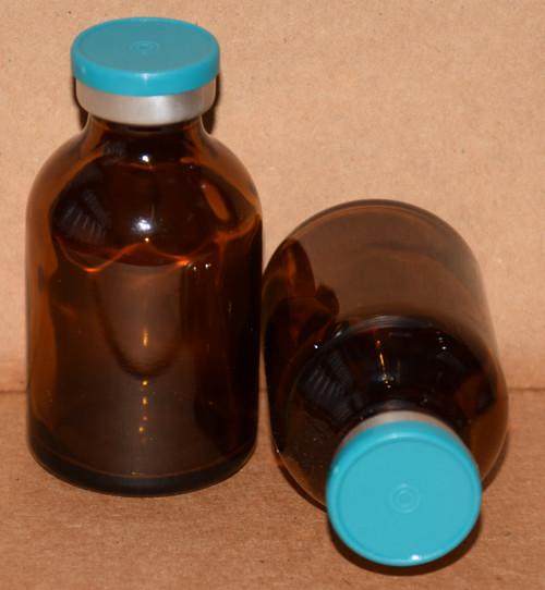 30 mL Amber Sterile Vial w/ Turquoise Aluminum Plain Flip Off Seal 36mm X 63mm