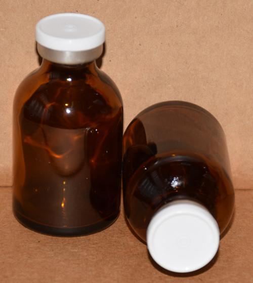 30 mL Amber Sterile Vial w/ White Aluminum Plain Flip Off Seal 36mm X 63mm
