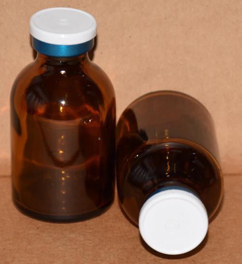30 mL Amber Sterile Vial w/ White On Blue Aluminum Plain Flip Off Seal 36mm X 63mm