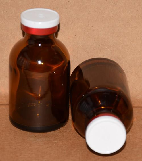 30 mL Amber Sterile Vial w/ White On Red Aluminum Plain Flip Off Seal 36mm X 63mm
