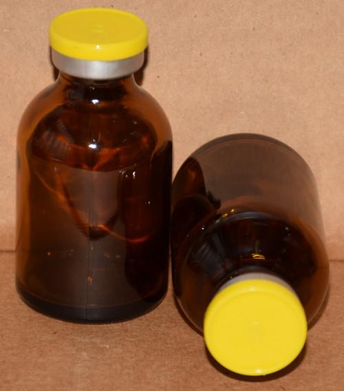 30 mL Amber Sterile Vial w/ Yellow Aluminum Plain Flip Off Seal 36mm X 63mm