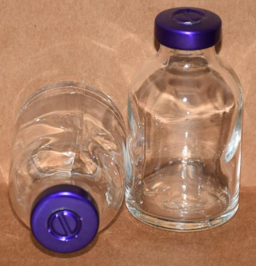 30 mL Clear Sterile Vial w/ Purple Aluminum Center Tear Seal 36mm X 63mm