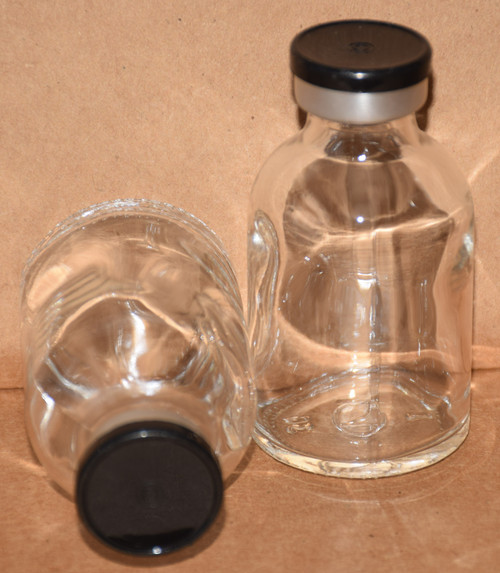 30 mL Clear Sterile Vial w/ Black Aluminum Plain Flip Off Seal 36mm X 63mm