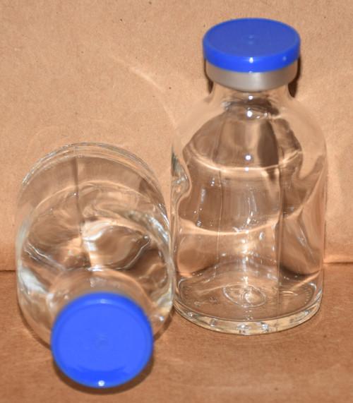 30 mL Clear Sterile Vial w/ Medium Blue Aluminum Plain Flip Off Seal 36mm X 63mm