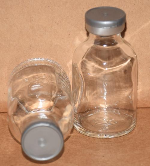 30 mL Clear Sterile Vial w/ Metallic Silver Aluminum Plain Flip Off Seal 36mm X 63mm