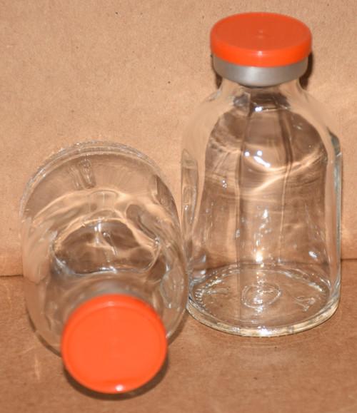30 mL Clear Sterile Vial w/ Orange Aluminum Plain Flip Off Seal 36mm X 63mm