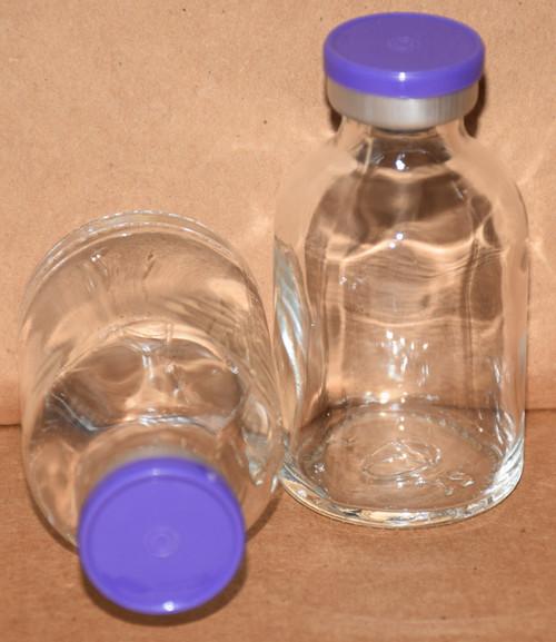 30 mL Clear Sterile Vial w/ Purple Aluminum Plain Flip Off Seal 36mm X 63mm
