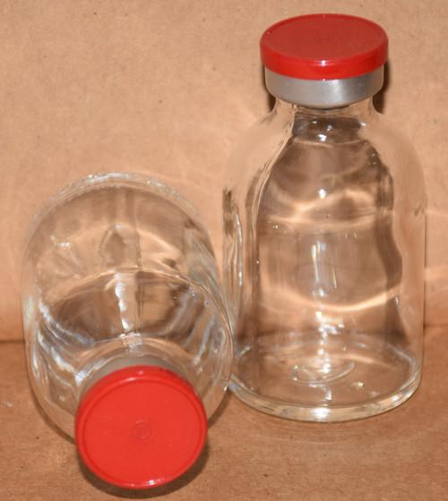 30 mL Clear Sterile Vial w/ Red Aluminum Plain Flip Off Seal 36mm X 63mm