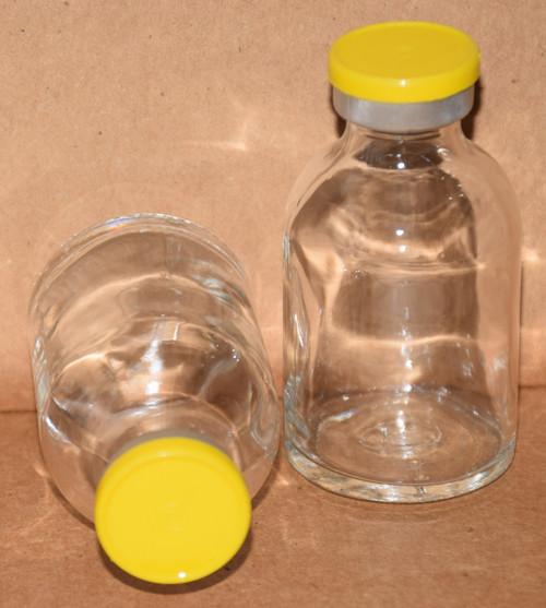 30 mL Clear Sterile Vial w/ Yellow Aluminum Plain Flip Off Seal 36mm X 63mm