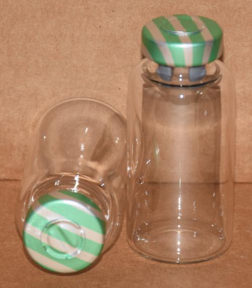 20 mL Clear Sterile Vial w/ Green Stripe Aluminum Center Tear Seal 28mm X 58mm