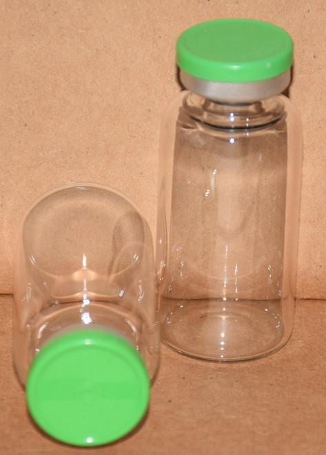 20 mL Clear Sterile Vial w/ Meadow Green Aluminum Plain Flip Off Seal 28mm X 58mm