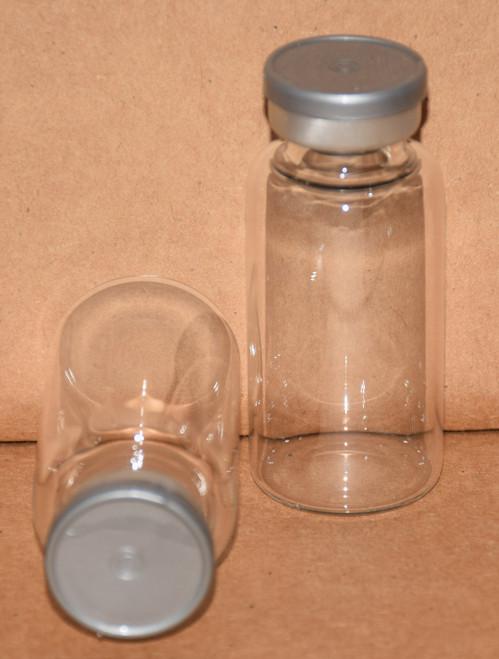 20 mL Clear Sterile Vial w/ Metallic Silver Aluminum Plain Flip Off Seal 28mm X 58mm