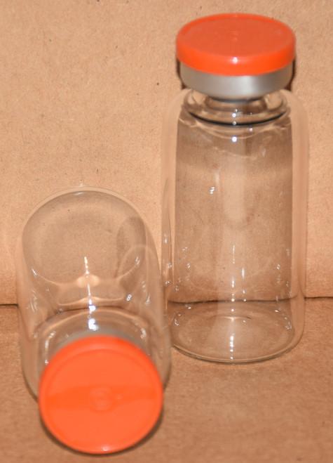 20 mL Clear Sterile Vial w/ Orange Aluminum Plain Flip Off Seal 28mm X 58mm