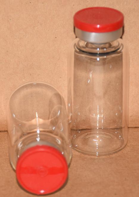 20 mL Clear Sterile Vial w/ Red Aluminum Plain Flip Off Seal 28mm X 58mm