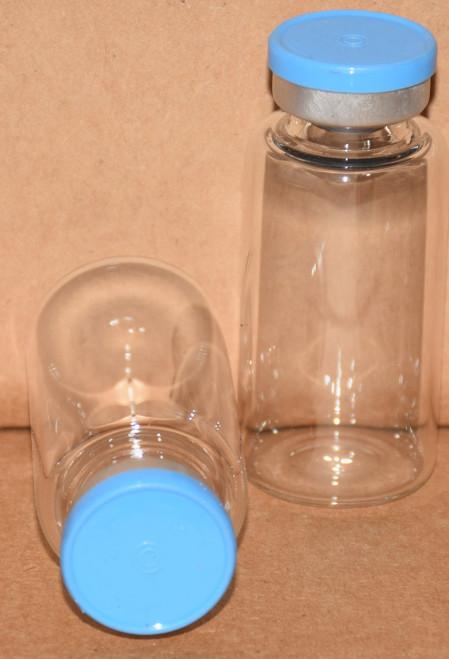 20 mL Clear Sterile Vial w/ Sky Blue Aluminum Plain Flip Off Seal 28mm X 58mm