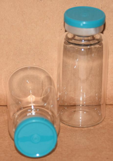 20 mL Clear Sterile Vial w/ Turquoise Aluminum Plain Flip Off Seal 28mm X 58mm