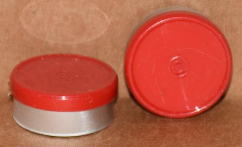 20mm Red Aluminum Plain Flip Off Seals - 100 Pack