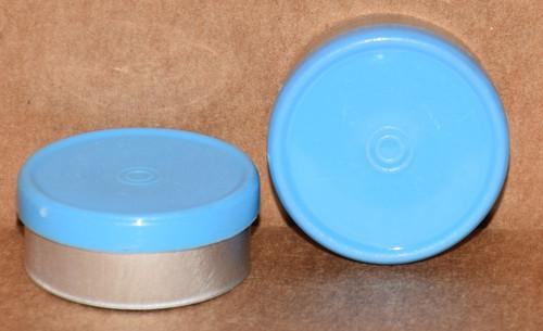 20mm Sky Blue Aluminum Plain Flip Off Seals - 100 Pack