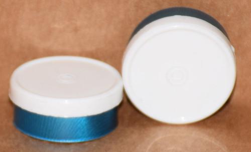 20mm White On Blue Aluminum Plain Flip Off Seals - 100 Pack