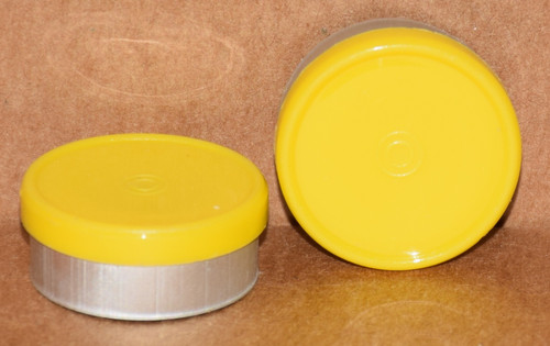 20mm Yellow Aluminum Plain Flip Off Seals - 100 Pack