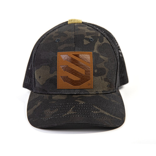 black multicam with leather patch
