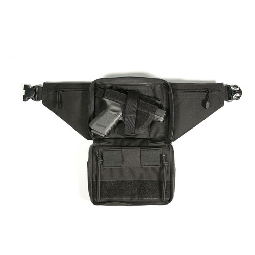 60WF - Nylon Concealed Weapon Fanny Pack Holster - BLACK - OPEN