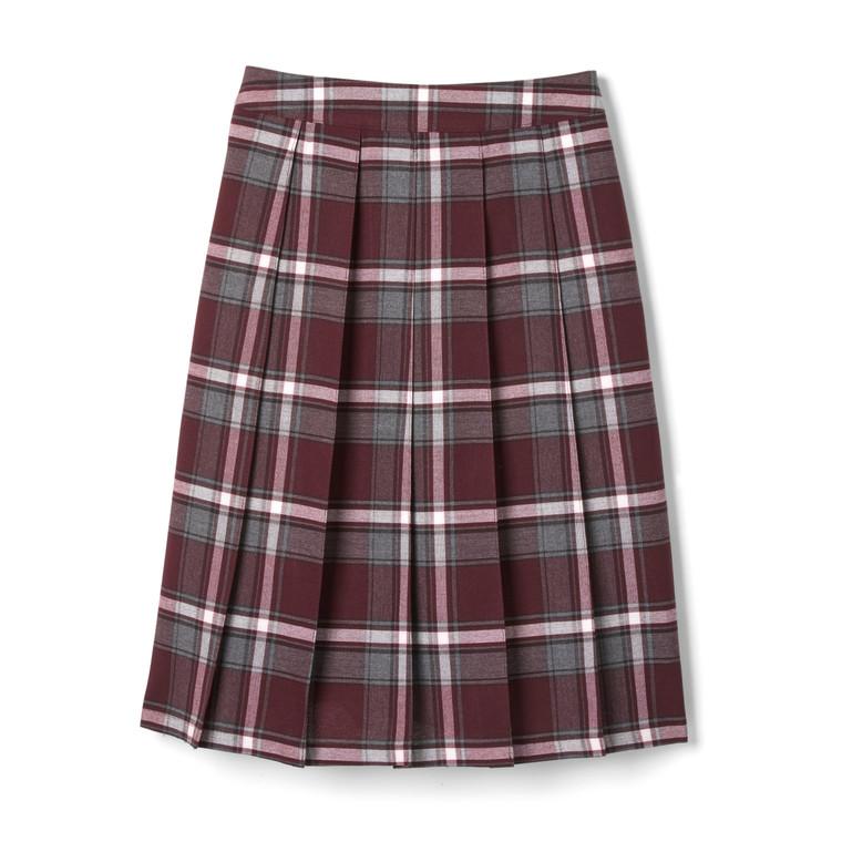 Long Pleated Plaid Maroon Skirt (BEREAN)