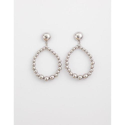 Stella & Gemma - Rhodium Bead Hoop Earrings