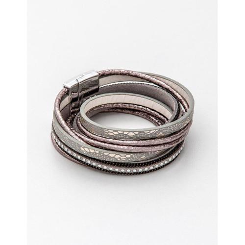Stella & Gemma - 4 Wrap Double Rose/Grey Bracelet