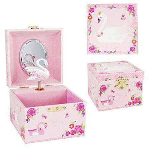 Pink Poppy - Swan Princess Jewellery Music Box - Pale Pink
