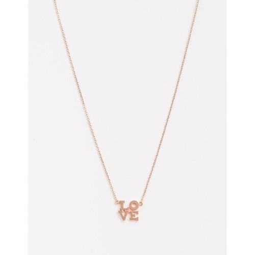 Stella & Gemma - Rose Gold LO VE Square Necklace
