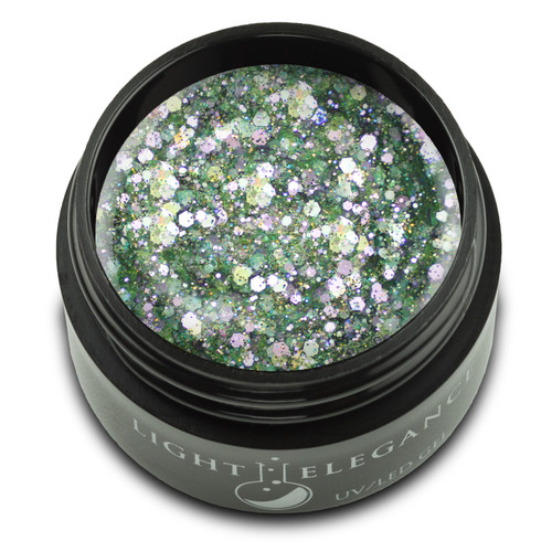 A perfect mix of chunky and fine pieces of glitter combine to create this opaque glitter gel with full, beautiful coverage. Soft shades of green and lavender give a floral feel that refreshes any look with just a sprinkle.  UV/LED Glitter Gel, Say It Ain't Cilantro, 17 ml  Coverage: Opaque Effect: Glitter