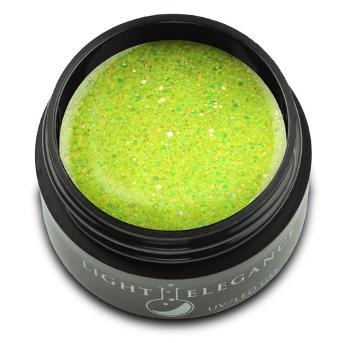 An electric, neon-yellow glitter that is lightly sprinkled with flasher of amber throughout featuring great coverage!   UV/LED Glitter Gel, Bad Banana , 17 ml  Coverage: Opaque Effect: Glitter
