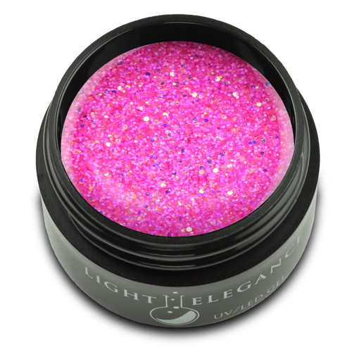 A hot-pink foundation is the perfect background for these flashes of amber. Flashes of amber and pink glitter twinkle throughout this neon glitter gel.  UV/LED Glitter Gel, Fruit Snacks , 17 ml  Coverage: Opaque Effect: Glitter