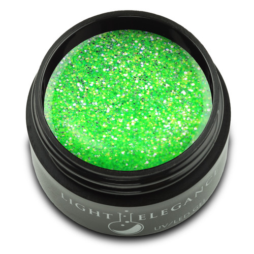 A lime green glitter gel that is sprinkled with chartreuse popping glitter.   UV/LED Glitter Gel, Kiwi to My Heart, 17 ml  Coverage: Transparent/Sheer Effect: Glitter