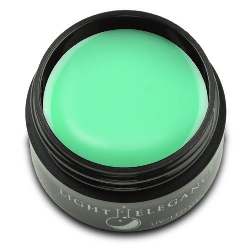 An electric green mixed with bright white makes for a fun pastel neon that truly pops.  Sublime Lime UV/LED Color Gel, 17 ml  Coverage: Opaque Effect: Shimmer
