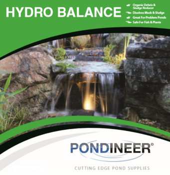 Pond algae and debris eliminator.  HydroBalance by Pondineer.  Helps treat and eliminate organic pond matter safe and naturally.