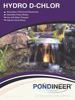 DeChlorinator by Pondineer.  HydroD-Chlor helps treat new water.