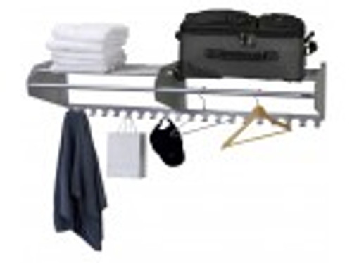 "60"" Satin Aluminum Wall Mounted Coat Rack & Hooks"