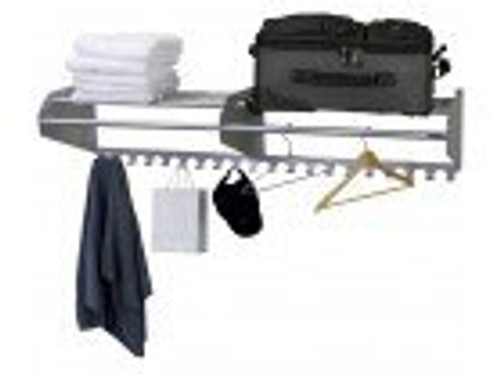 "72"" Satin Aluminum Wall Mounted Coat Rack & Hooks"