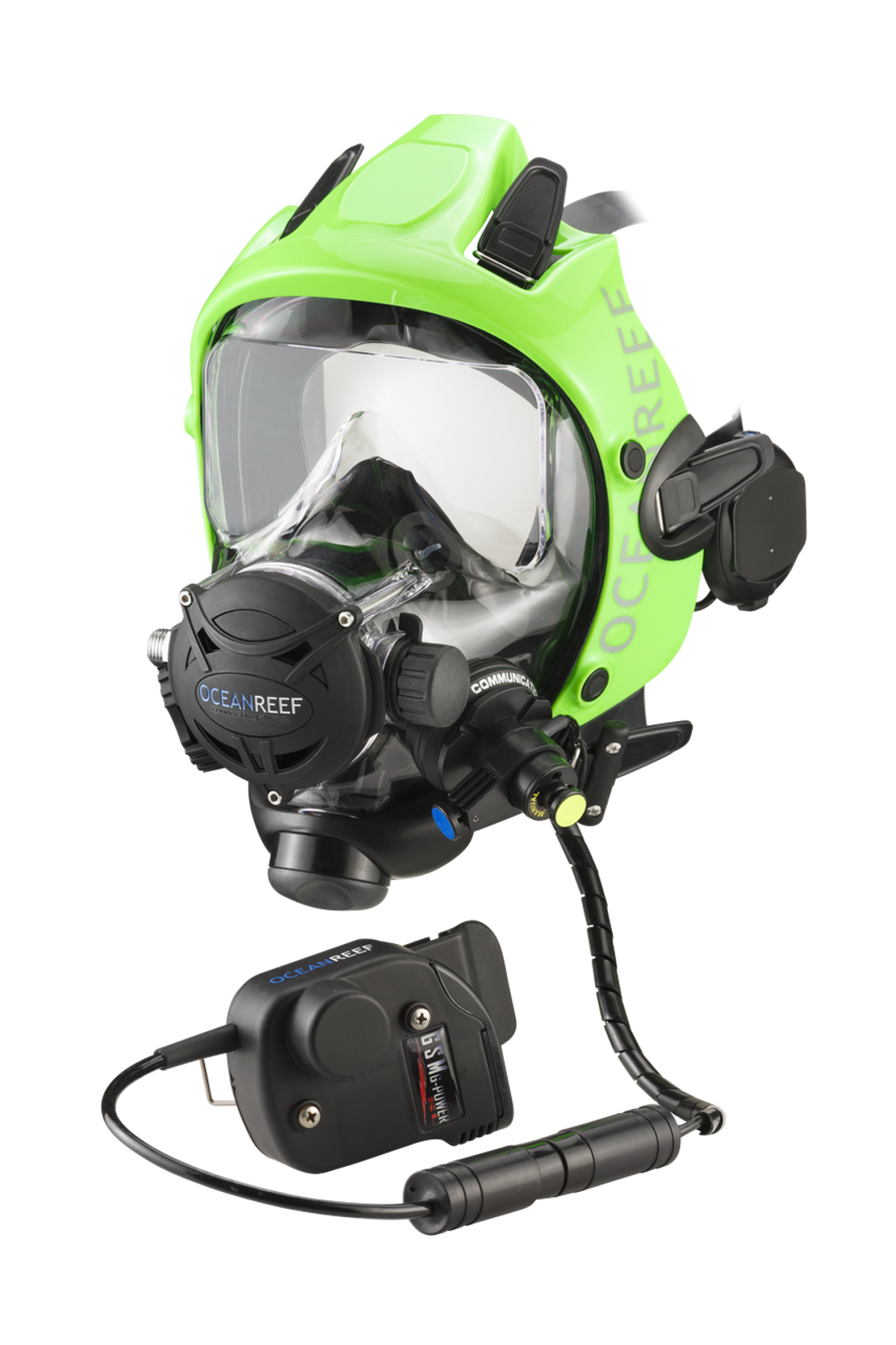 Space Extender black/green frame (an extra, not included, color option) with the GSM GPower SL - underwater communication unit  with headset (wireless)