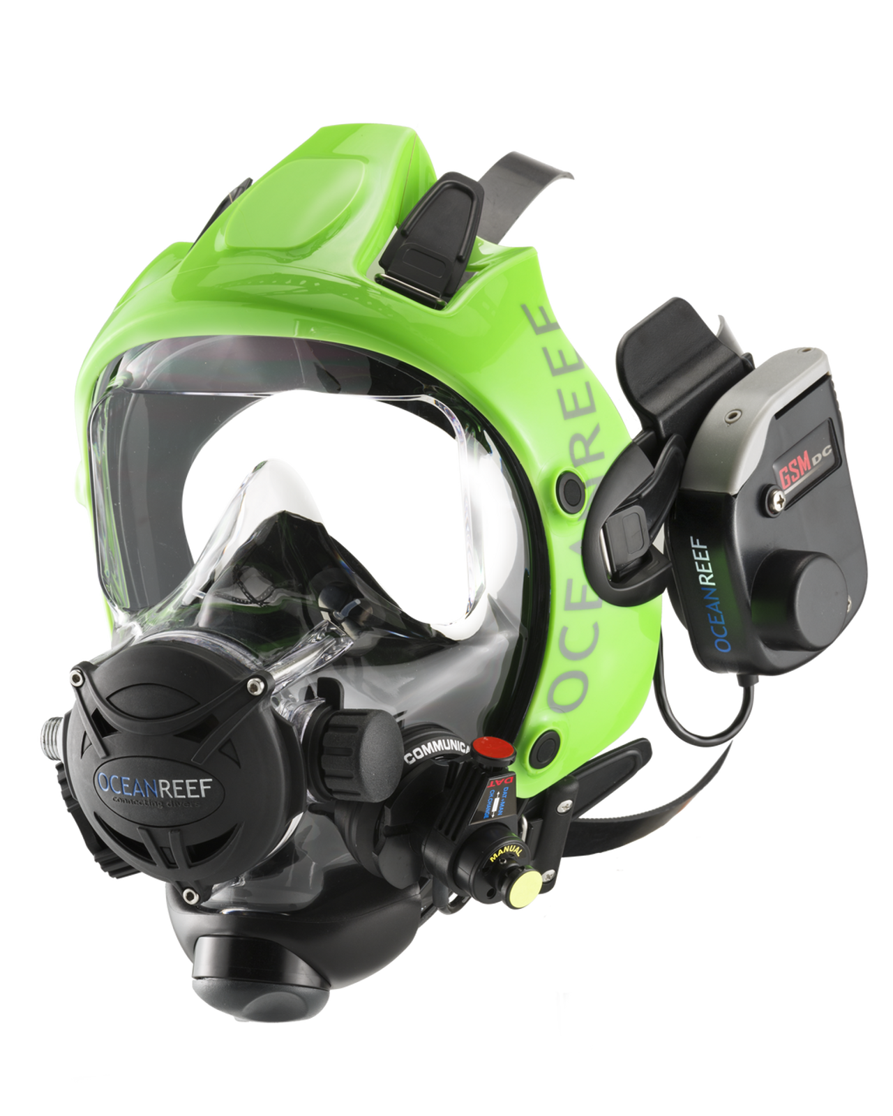 Space Extender black/green frame (an extra, not included, color option) with the GSM DC - dual channel underwater communication unit (wireless)