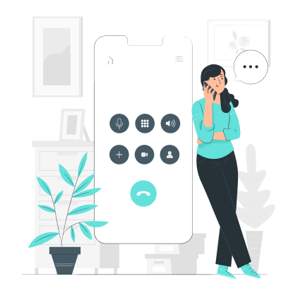 Woman scheduling a call