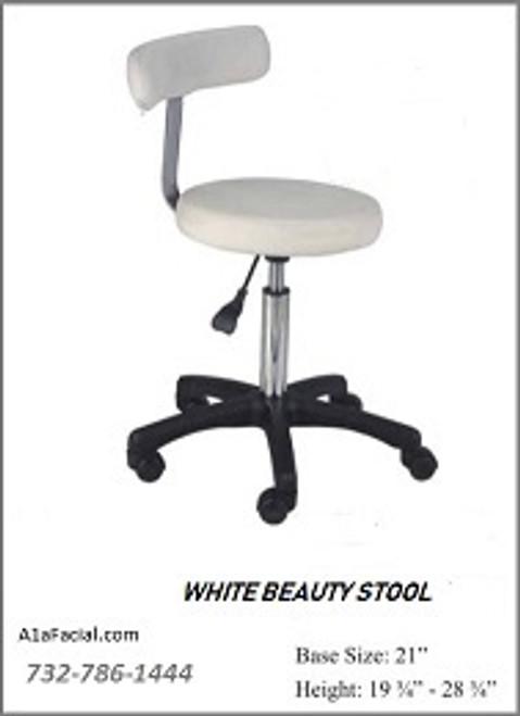 White Beauty Stool Adjustable Height 19 3/4 - 28 3/4