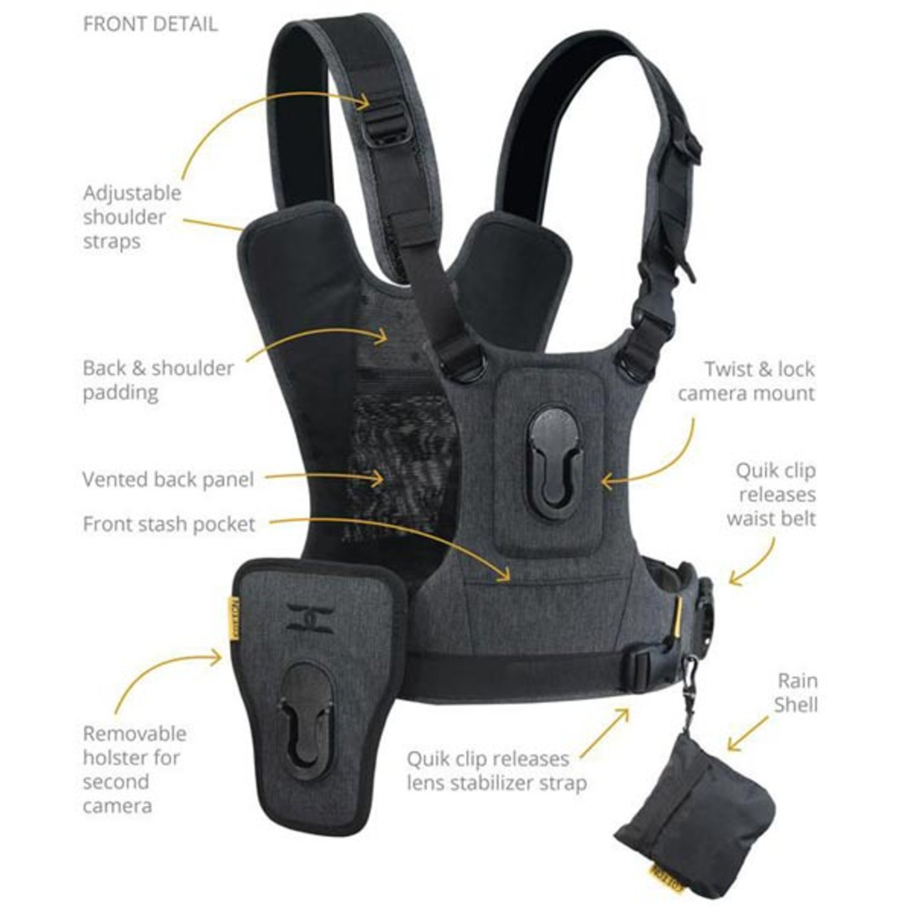 Cotton Carrier G3 Camera Harness 2 Charcoal Grey