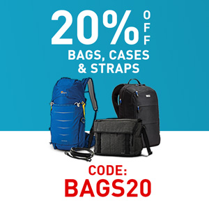 20% bags, cases & straps